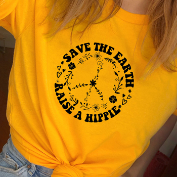 Save The Earth T Shirt Women Graphic Tees Causal Raise A Hippie Women Printed Tshirt Cotton Plus Size Top Save The Bees T-shirt