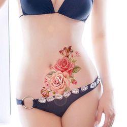 1PC Neue Mode Abnehmbare Frauen Dame 3D Blumen Wasserdicht Temporäre Tattoo Aufkleber Schönheit Körper Kunst Einfach Tragen Und Einfach sauber