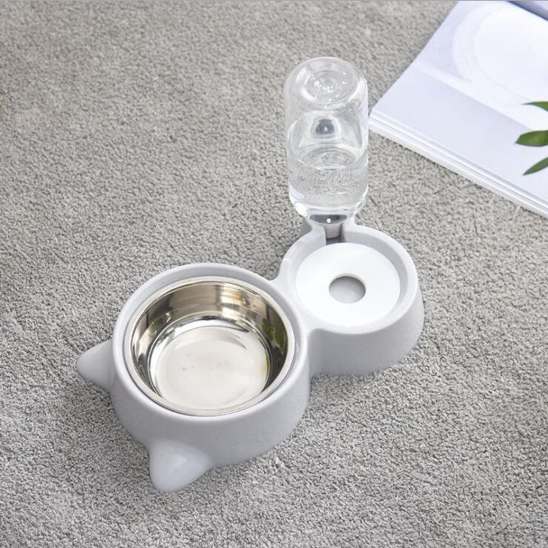 Stainless Steel Double Pet Bowls Automatic Drinker Not Wet Mouth Food Bowl Dog Pot Cat Ears Bowl Supplies Feeding Dishes
