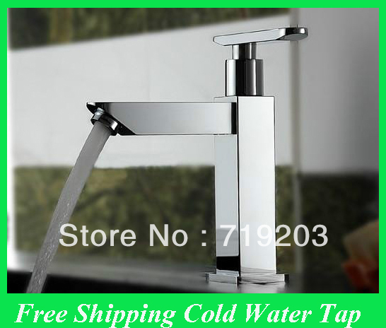 Chrome Square Only for Cold Water Bathroom Taps Sink Faucet Without Inlet hose