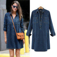 Europe XL 5XL Plus Size Denim Dress 2018 Autumn New Women Loose Hedging Daily Jeans Dress for Fat MM Clothing