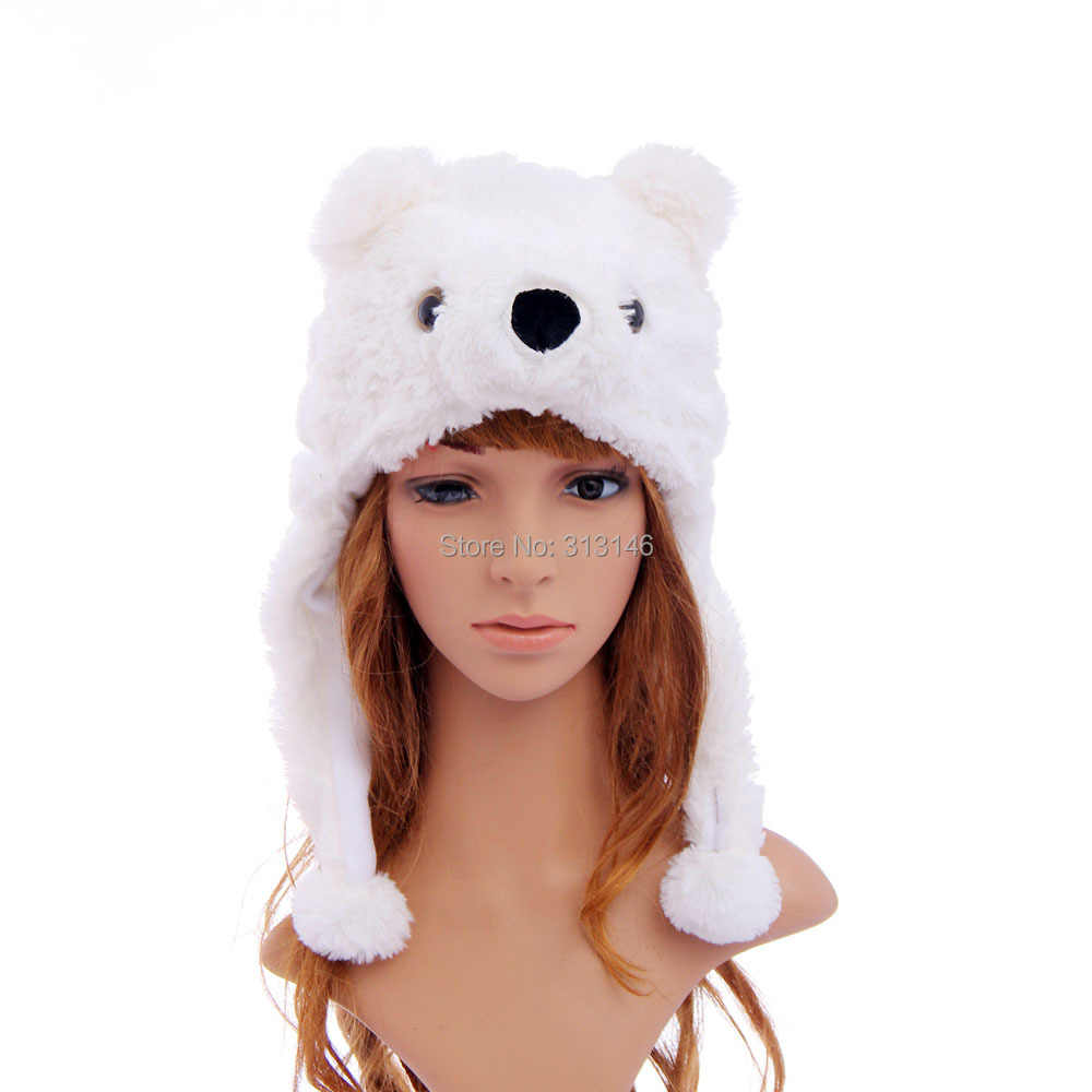 4281d3402ad Detail Feedback Questions about Cartoon Plush Animal White Polar Bear Fuzzy Warm  Beanie Hat Winter Adult Women Men s Children Kids Boys Girls Fluffy Costume  ...