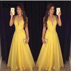 Xnxee модное желтое кружевное платье 2018 вечернее платье без рукавов с глубоким v-образным вырезом Длинное Элегантное летнее платье женское пл...