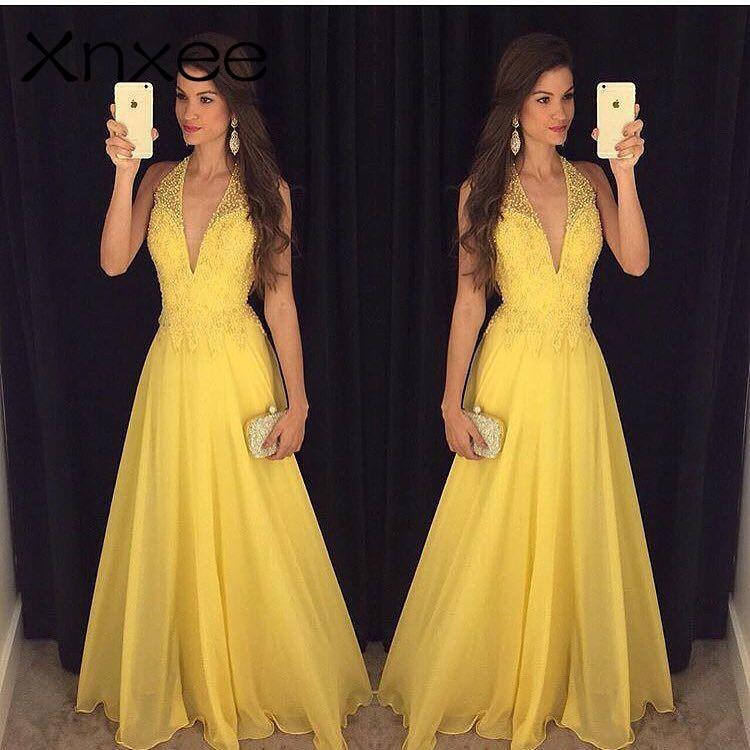 Xnxee Fashion Yellow Lace Dress 2018 Evening Party Sleeveless Halter Deep V-neck Long Elegant Summer Dress Women Maxi Dress