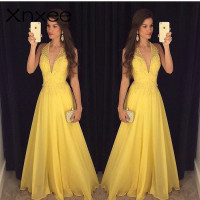 Xnxee Fashion Yellow Lace Dress 2018 Evening Party Sleeveless Halter Deep V neck Long Elegant Summer Dress Women Maxi Dress