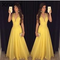 Xnxee Fashion Yellow Lace Dress 2018 Evening Party Sleeveless Halter Deep V neck Long Elegant Summer Dress Women Maxi Dress