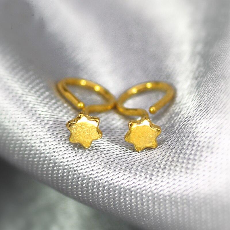 Boucles d'oreilles en or jaune 24 K pur femmes boucles d'oreilles étoile 0.33g - 3