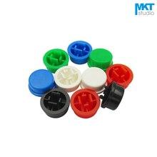 100 шт. цветные колпачки для переключателей 12*12 мм, тактильные колпачки, мгновенный переключатель, красный, зеленый, синий, желтый, белый, черн...