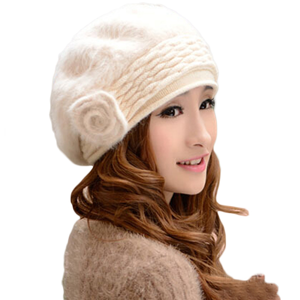 Women s Winter Thicken Solid Color Rabbit Fur Warm Side Flower Knitted Hat  Beret Cap Beanie-in Skullies   Beanies from Apparel Accessories on  Aliexpress.com ... 231c15e1087b