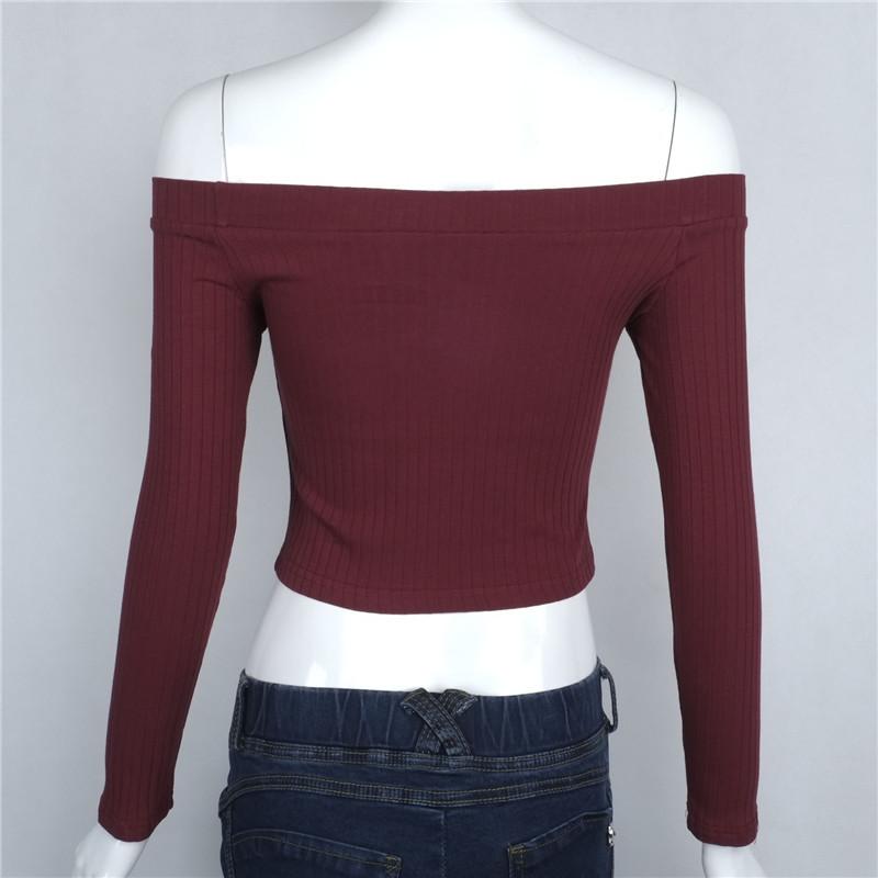 HTB109mgNpXXXXcvXpXXq6xXFXXXE - Slash Neck White T-shirt Women Cropped Tops JKP032