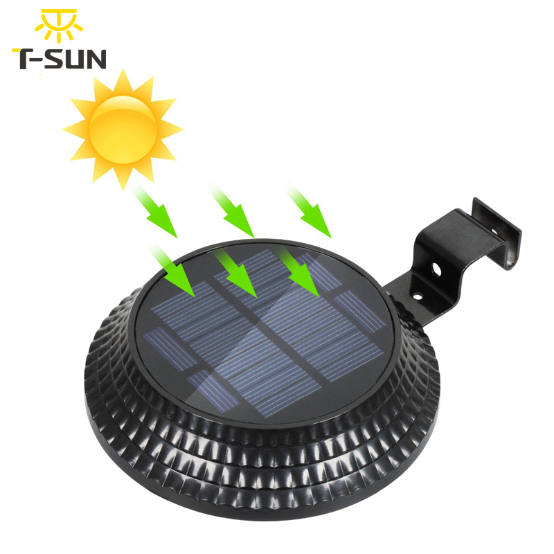T-SUNRISE Solar Light Outdoor Solar Gutter Fence Lamp 12 LEDs Waterproof Solar Sensor Wall Light  For Garden Yard Black Round