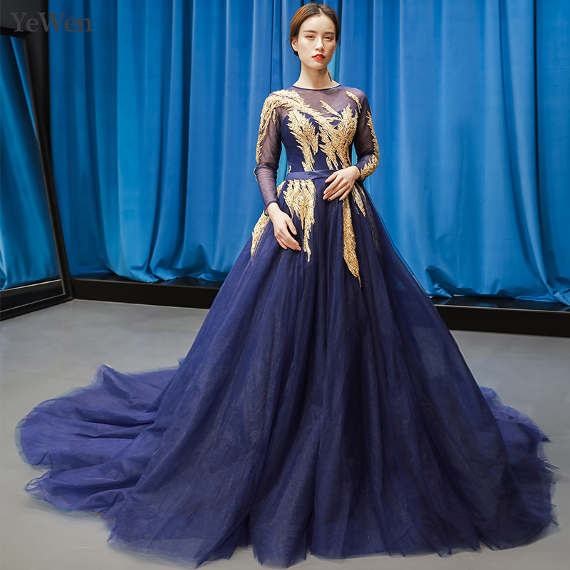 Robe de soirée élégante bleu Royal longue Appliques de luxe en or robes d'occasion spéciale Sexy dos nu robe de soirée formelle YM20258