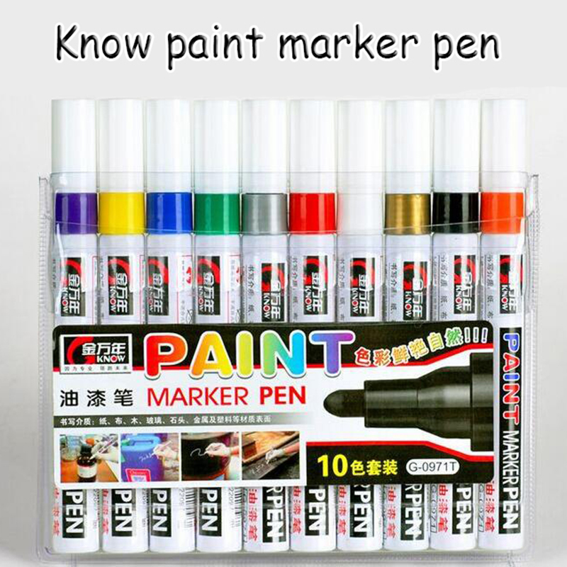 Original Know Colored Oil Marker Pen 10 Colors Art Marker Painting And Drawing On Surface Of Cloth, Wood, Glass, Stone, Metal