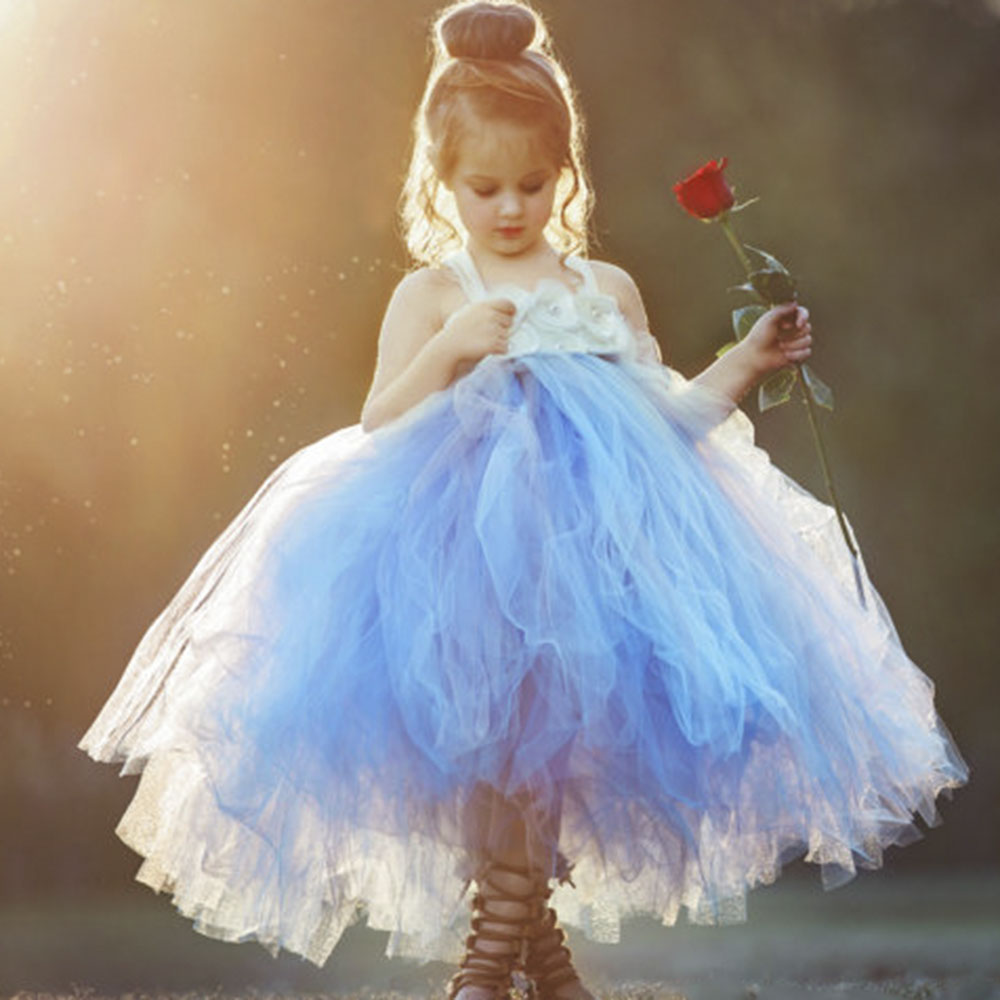 Dusty Blue Flower Girl Tulle Tutu Dress Vestidos Handmade Burned Flowers Rhinestone Wedding Tutu Dresses for Birthday Party Dres