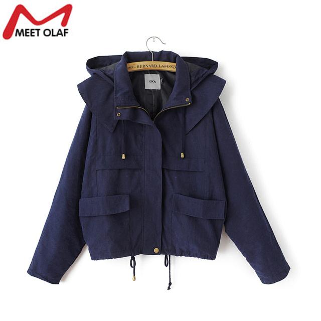 Com capuz Casaco de Trincheira Das Mulheres 2015 Outono Plus Size Feminina Casual Blusão Outwear Casaco YL653