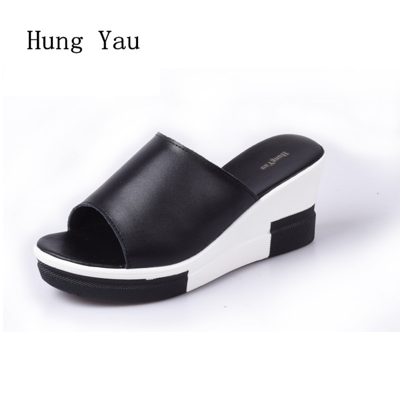 Women Sandals 2017 Summer Genuine Leather Shoes Woman Flip Flops Wedges Fashion Platform Female Slides Ladies Shoes Peep Toe choudory bohemia women genuine leather summer sandals casual platform wedge shoes woman fringed gladiator sandal creepers wedges