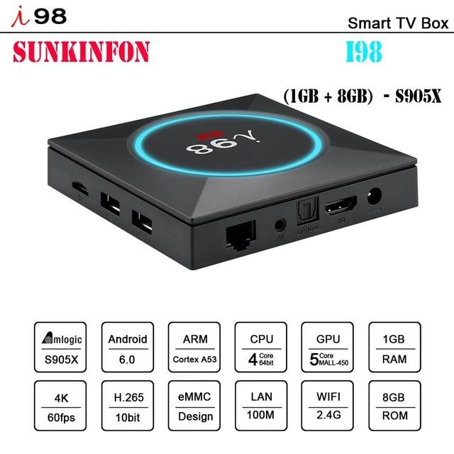 [Original] 2018 New Arrival Model SKF-I98 Smart Android 6.0 TV Box 1GB 8GB 4K Amlogic S905X 2.4GHz WiFi PK X96 H96 PRO TV Box