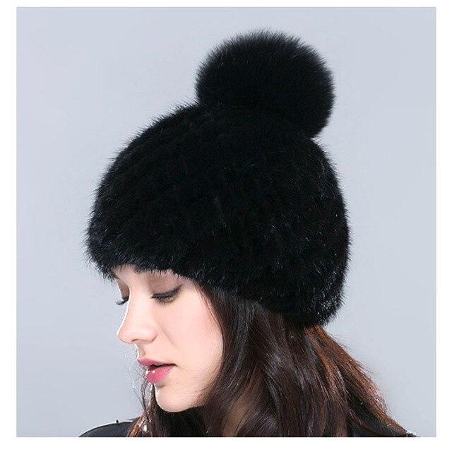 2016 Newest Mink Fur Hat Pineapple Cap Winter Warm Beanies Women Cap Female Headgear Black bonnetchapka russe femme inverno bone