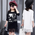 Free Shipping 2016 New fashion children's clothes, girls lace long sleeve lace dress beautiful princess cartoon design Top 5-15Y