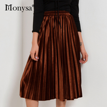 Velvet Pleated Skirts Women 2018 Autumn Winter Fashion Streetwear Midi Skirt Ladies Elastic Hight Waist Casual Skirt Black Green(China)