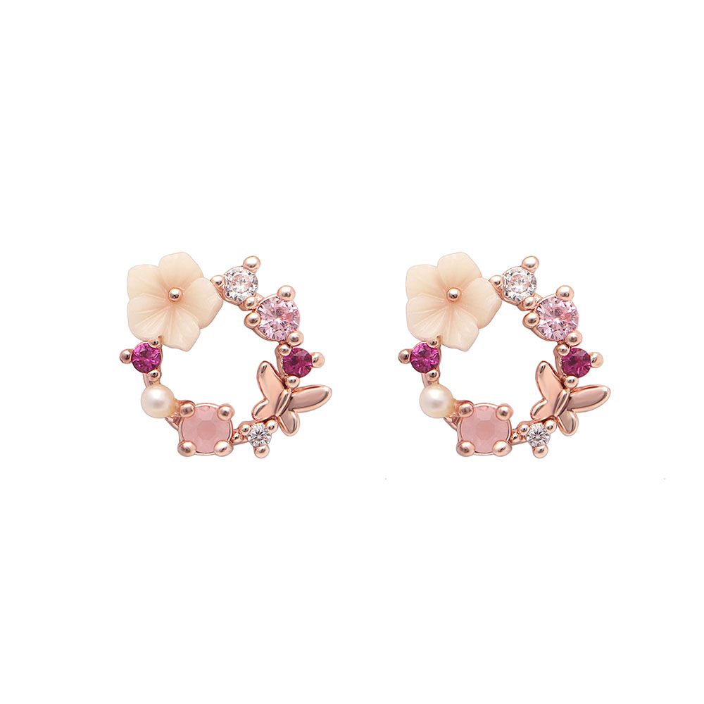 Hainon New Korean Pink Rhinestone Flower Stud Earrings for Women Cute Fashion Butterfly Rose Gold Color Round Earrings Jewelry