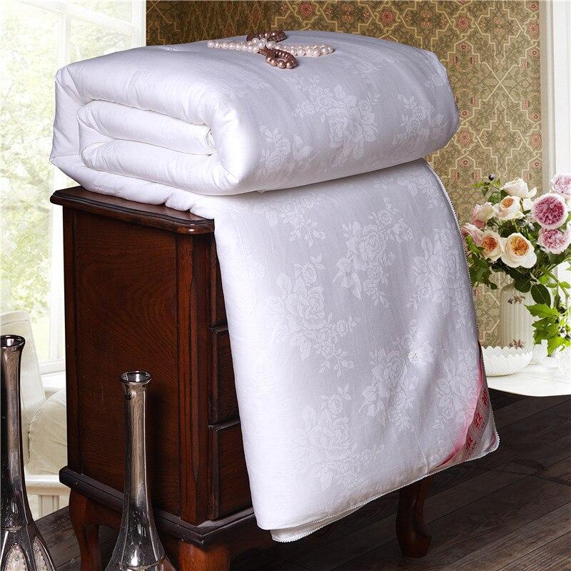 Super Doux Chaud Printemps Été Couette Mûrier Naturel Soie Jacquard Couette De Luxe Accueil Blanket Simple Double Taille Couettes