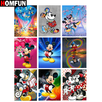 HOMFUN Full Square/Round Drill 5D DIY Diamond Painting Cartoon mouse Embroidery Cross Stitch 5D Home Decor Gift homfun 5d diy diamond painting full square round drill cartoon rabbit embroidery cross stitch gift home decor gift a08515