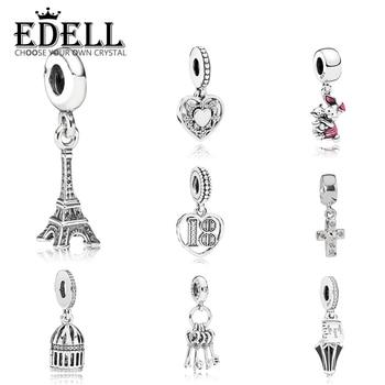 EDELL 100% 925 Sterling Silber Eiffelturm Nettes Schwein Poppins Regenschirm Vogel Käfig Liebe Schlüssel Kreuz 18 Jahre der Liebe hängen Charme