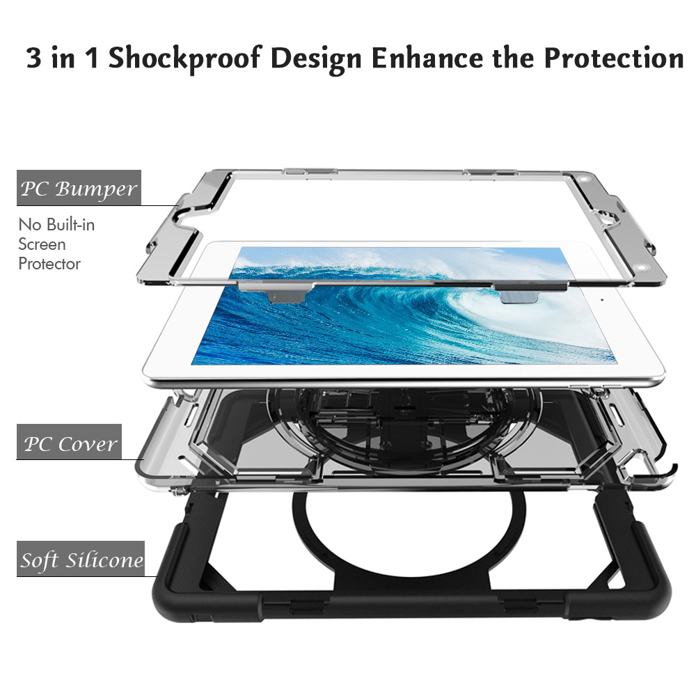 Miesherk Case for New iPad 2018 / 2017 with Hand Strap Neck Strap, Shockproof Drop Protection Cover with Rotating Handle Stand