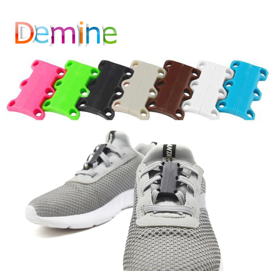 Demine Shoelace Buckle Strong Magnetic For Sneakers Sport Shoes Closure Lazy No Tie Shoelaces Colorful Child Adult Shoe Laces