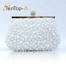 TenTop-A Free Shipping 2017 New Fashion Women's Sequin Both Side Pearl Beaded Handbag Clutch Purse Handmade Wedding Evening Bags