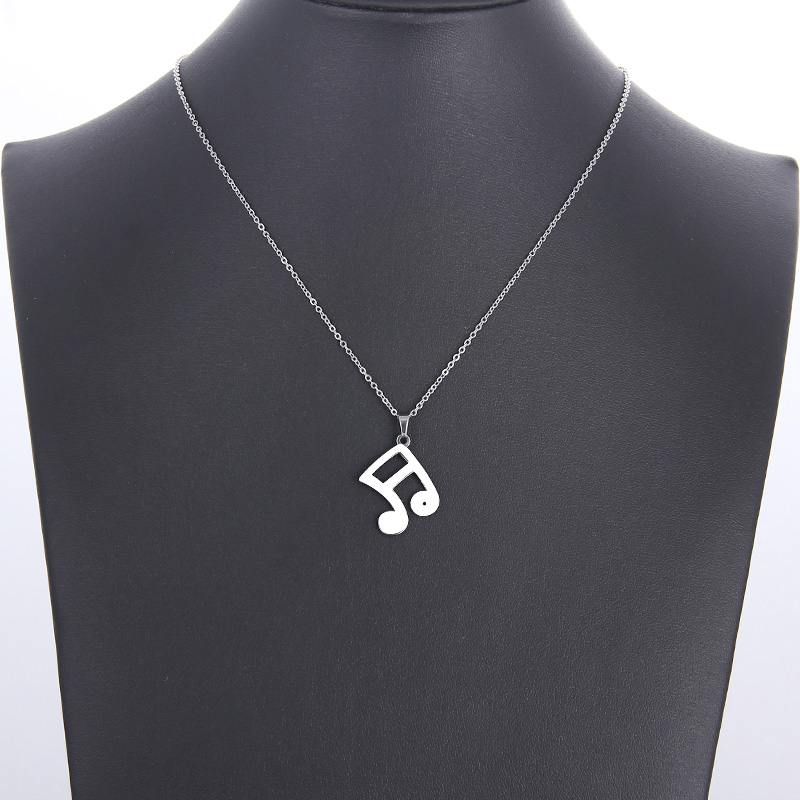 Cacana Stainless Steel Necklace Musical Notes Gold And Silver IMG_5962
