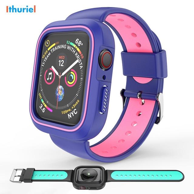 Ithuriel резиновый ремешок для Apple Watch ремешок 38 мм 40 мм 42 мм 44 мм мягкий спортивный ремешок чехол для iWatch серии 4 3 2 Мода