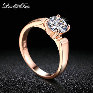 Engagement-Rings Wedding-Jewelry Cubic-Zircon Round-Cut Double-Fair Silver/rose-Gold-Color