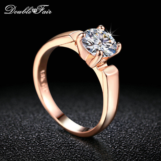 Double Fair 1.25 Carat Round Cut Cubic Zircon Engagement Rings Silver/Rose Gold