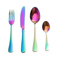 Multi-Colors Cutlery Mirror Polishing Stainless Steel Dinnerware Fork Scoops Set Dessert Portuguese Style Solid Tableware