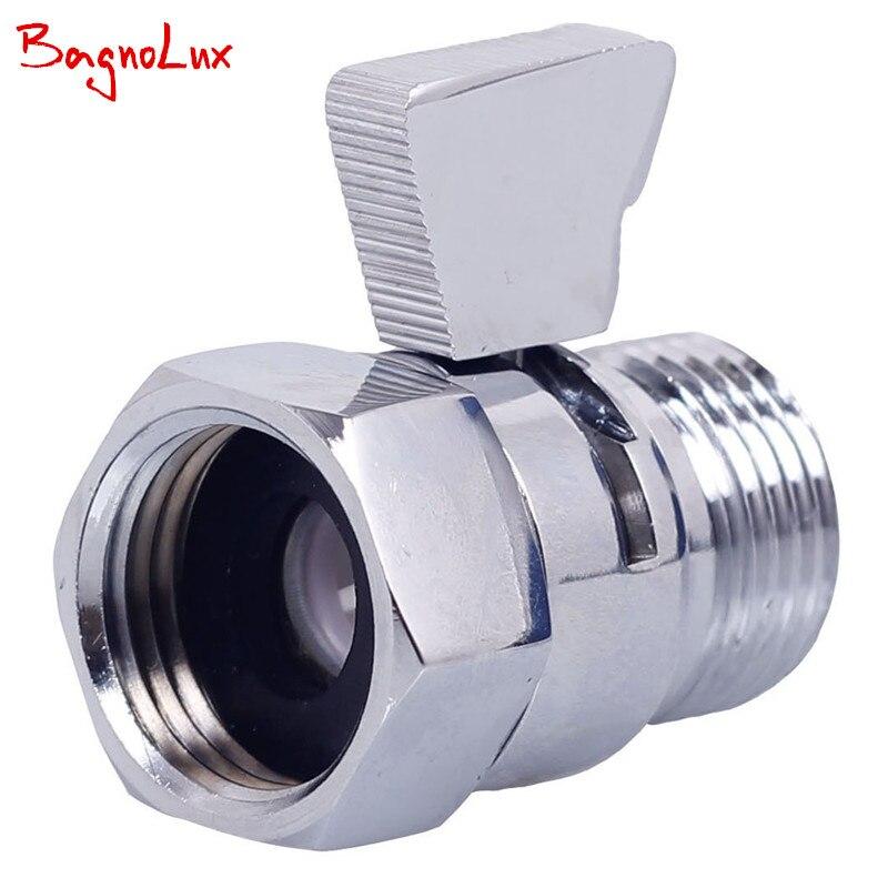 100% Brass Flow Control Valve Water Pressure Reducing Controller Hand Held Sprayer Head Shut Off Stop Switch For Shower Supply