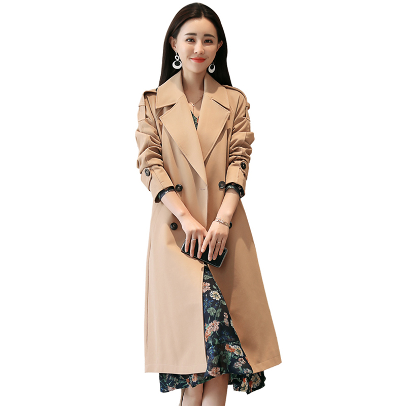 Woolen Coat Female Long Woolen Coat 2019 Spring New Women Korean Jacket Version Self-cultivation Temperament Fashion Windbreaker