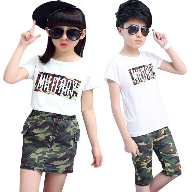 baby girl suit summer 2018 t shirt camo skirt suit boys clothing set fashion kids tracksuit for girls clothes children clothing sun moon kids boys t shirt summer