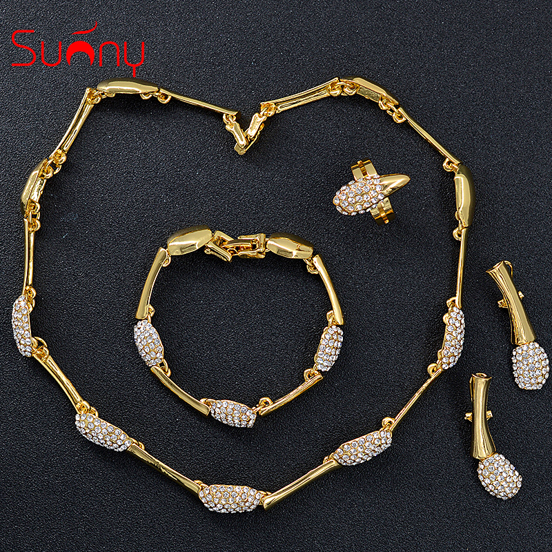 Sunny Jewelry Women Bridal Jewelry Set Dubai Wedding Cubic Zirconia Bowknot Heart <font><b>Necklace</b></font> <font><b>Earrings</b></font> <font><b>Ring</b></font> <font><b>Bracelet</b></font> Ethnic Jewelry image