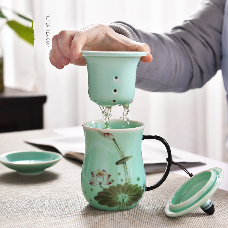 2018 New Arrival Chinese Style Lotus Tea Mugs with Lid Celadon Porcelain Filter tea cups water bottle Office Drinkware Gift