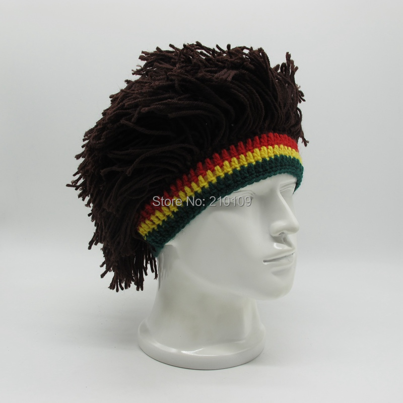 Mr.Kooky Men Novelty Knit Handmade Wig Braid Hat Funny Jamaican Bob Marley Reggae Cap Rasta Beanies Cool Tassel Hair Accessories