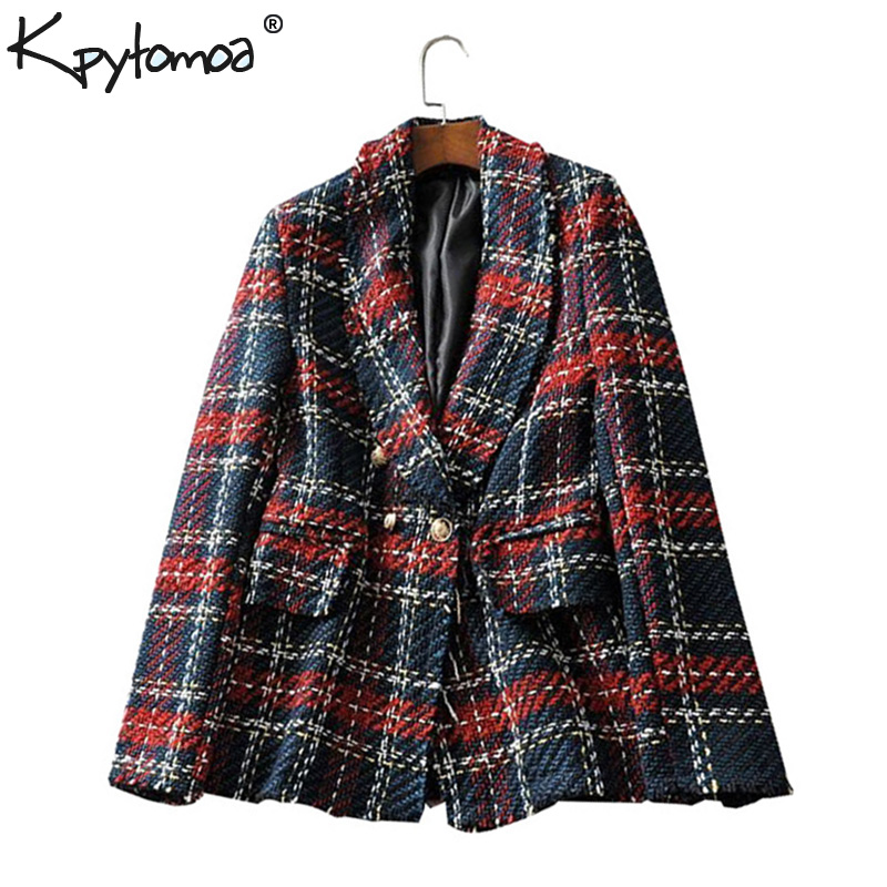 Anzüge & Sets Vintage Red Plaid Tweed Blazer Mantel Frauen Zweireiher Quaste Anzug Jacke Winter Casual Blazer Femme Dame Büro Oberbekleidung