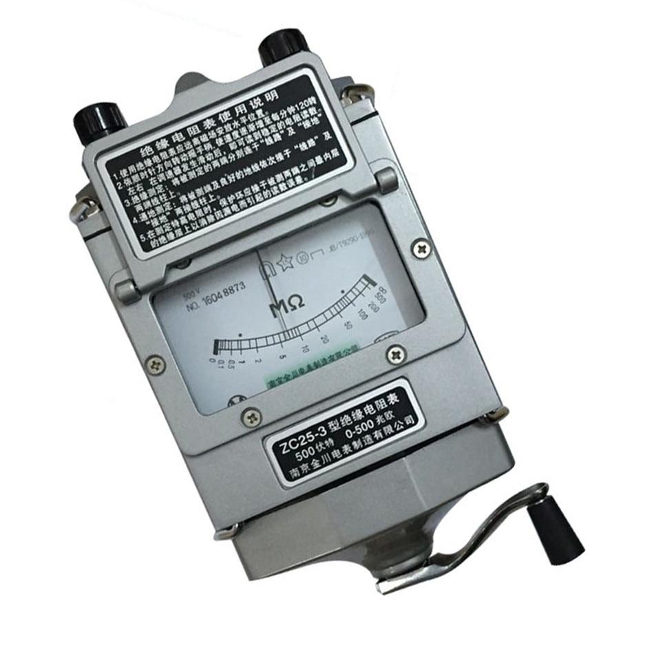 0-500M ohm 500v Insulation Megohm Tester Resistance Meter Megger Megohmmeter  High quality (ZC25-4 1000V)