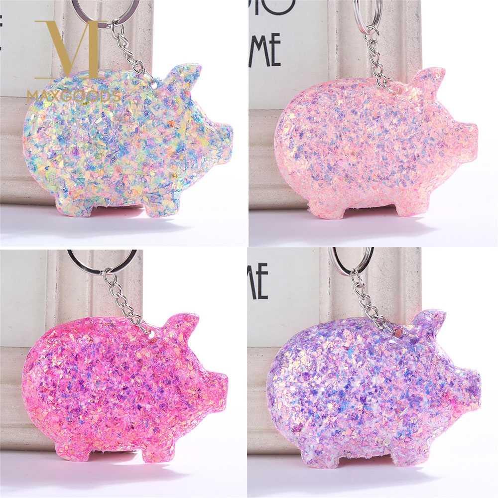 Porco encantador Lantejoulas Brilho do Anel Chave Keychain para As Mulheres Meninas Saco Car Chaveiro Bolsa Pingente Chaveiro Animais Jóias