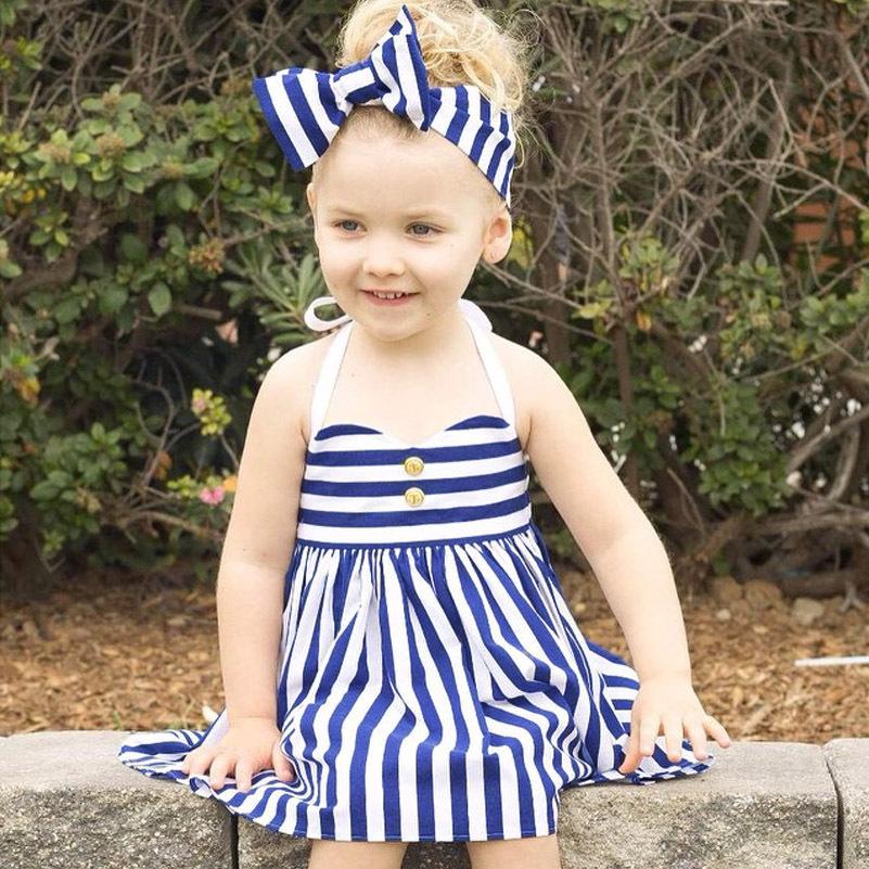 fbf32d216 Niñas bebés Vestido de La Raya Azul impreso con arco princesa Vestidos de  algodón + Diadema Verano ropa linda del bebé regalo de cumpleaños