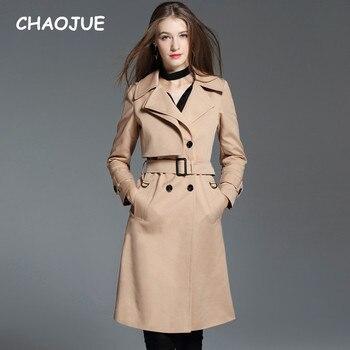 CHAOJUE Women Long Trench 2018 Autumn New England Elegant Loose Double Breasted Khaki Coat Ladies Plus Size Grace Overcoat