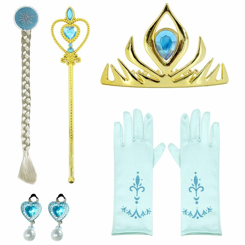 Disney Princess Set Frozen Elsa Anna Crown Gloves Heart Wand Earrings Ring Set Girls Birthday Christmas Gift For Party Toys