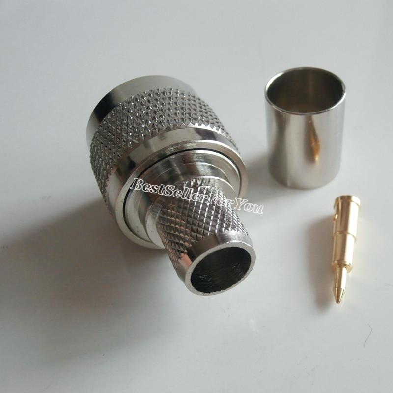 Işıklar ve Aydınlatma'ten Konnektörler'de 10 adet N Tipi Sıkma Fiş Erkek Kablo Düz RF Konektörü LMR400 RG8 RG213 RG214 title=