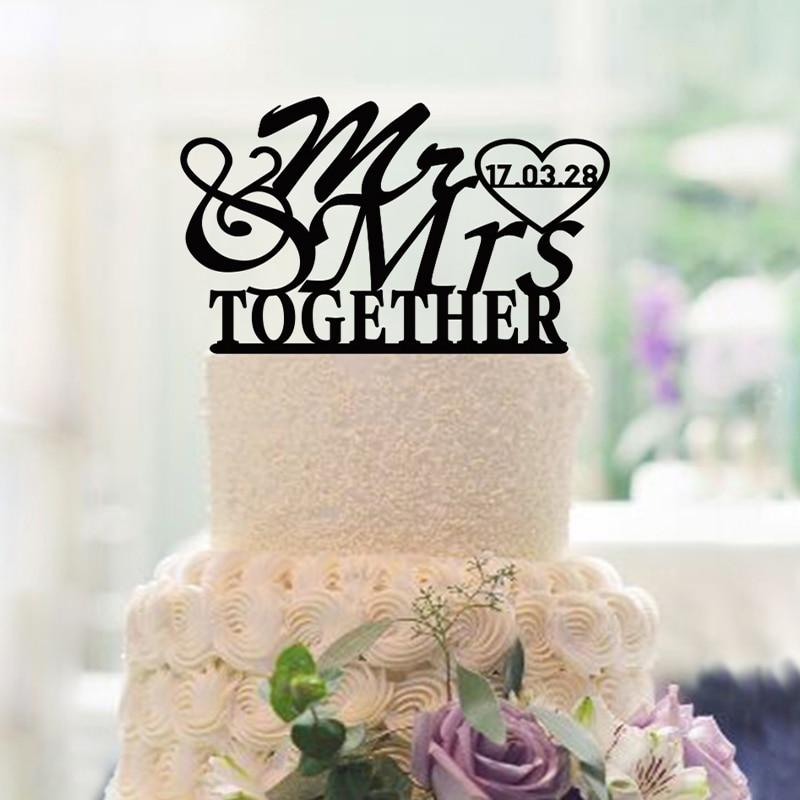 Wedding Decoration Cake Toppers Custom Datum och namn Mr och Mrs - Semester och fester
